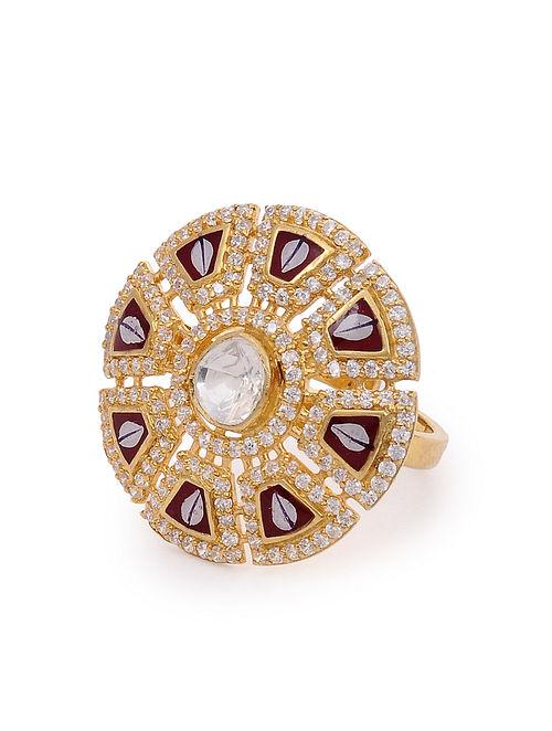 Maroon White Meenakari Gold Plated Kundan Silver Adjustable Ring