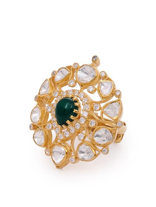 Green Gold Plated Kundan Silver Adjustable Ring