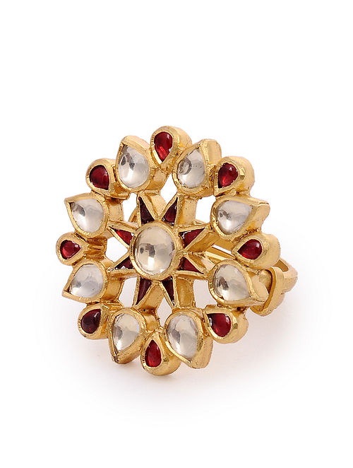 Red Gold Plated Kundan Silver Adjustable Ring