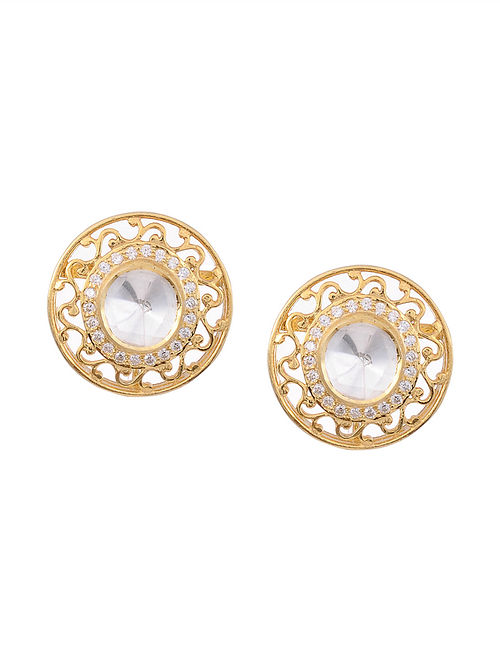 Gold Plated Kundan Silver Stud Earrings