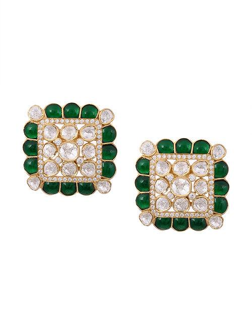 Green Meenakari Gold Plated Kundan Silver Earrings