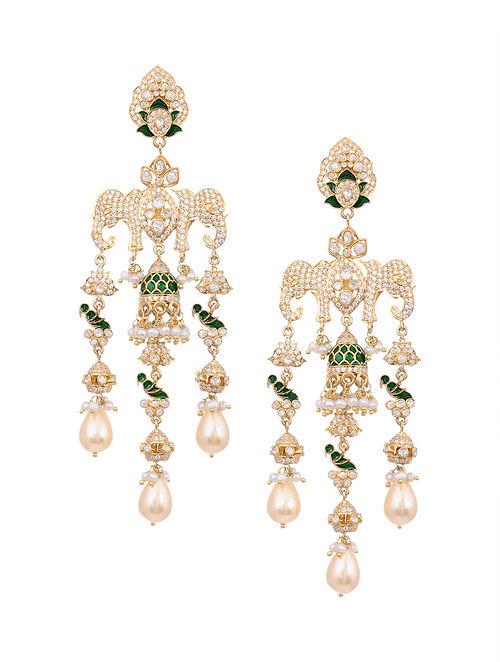 Green Meenakari Gold Plated Kundan Silver Earrings with Pearls
