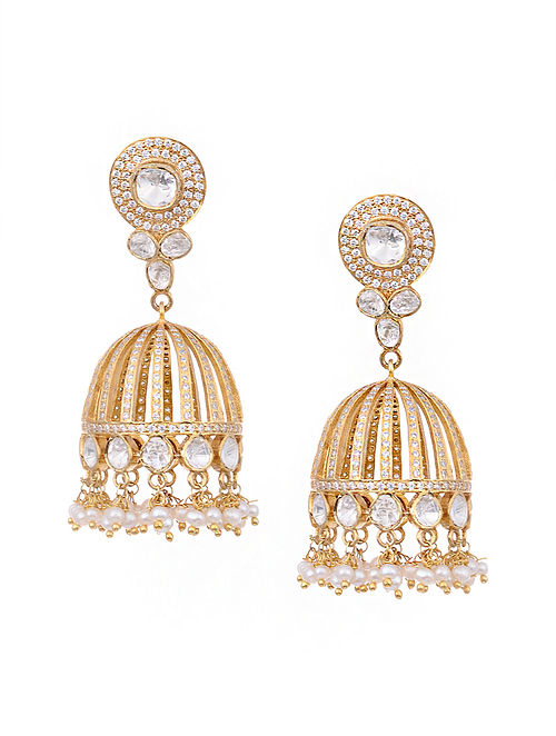 Gold Plated Kundan Silver Jhumki Earrings with Pearls