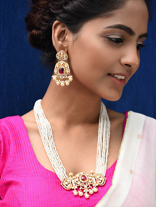 Maroon Gold Plated Pearl Beaded Kundan Silver Necklace with Earrings