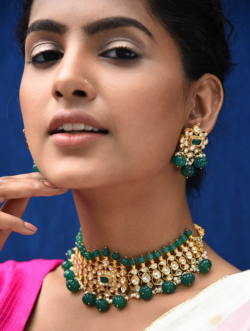 Green Gold Plated Kundan Silver Necklace with Earrings