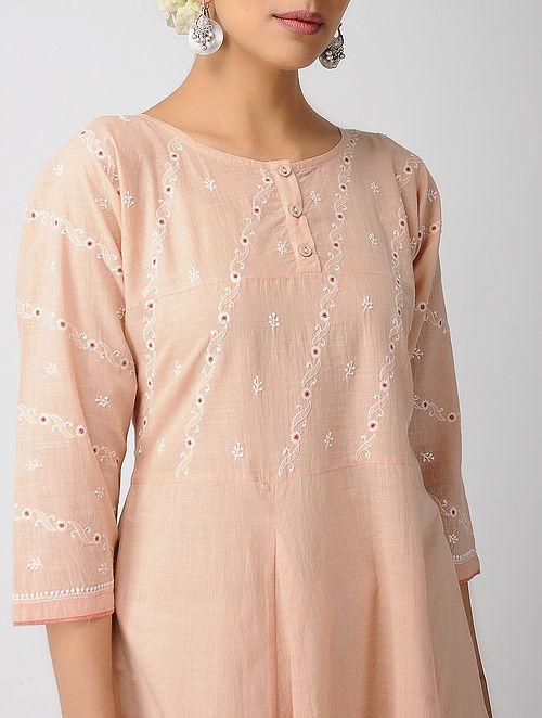 Peach Chikankari Kalidar Cotton Slub Kurta