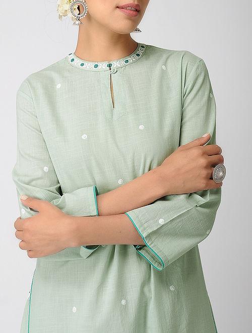 Green Chikankari Cotton Slub Kurta