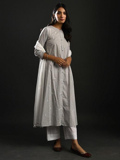 AMRITA PRITAM - Grey Chikankari Cotton Kurta with Mukaish