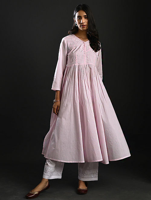 BALAMANI AMMA - Pink Chikankari Cotton Kurta with Mukaish
