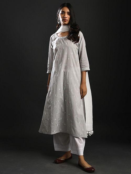 SUBHADRA KUMARI CHAHUHAN - Grey Chikankari Cotton Kurta with Mukaish