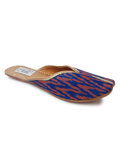 Purple Handcrafted Ikat Cotton and Leather Mojaris