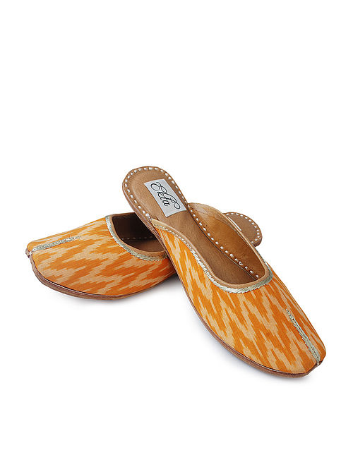 Yellow Handcrafted Ikat Cotton and Leather Mojaris