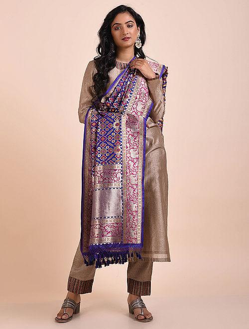 Blue-Purple Benarasi Cutwork Silk Dupatta