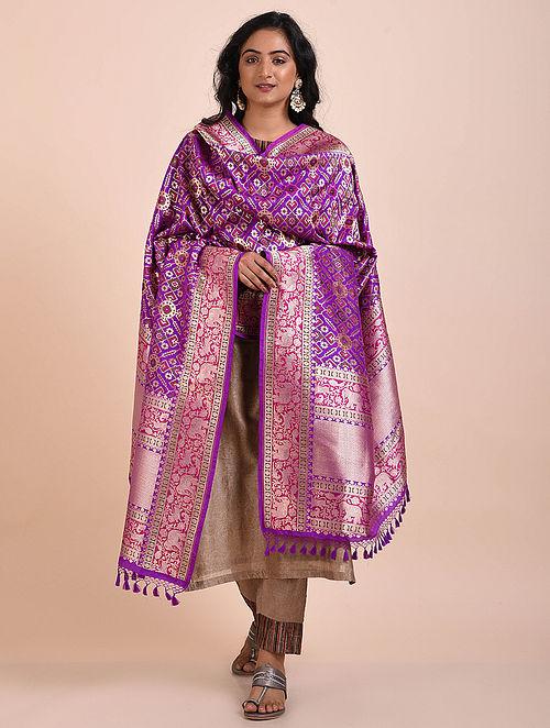 Purple Benarasi Cutwork Silk Dupatta
