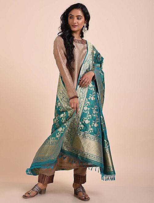 Blue Benarasi Silk Dupatta