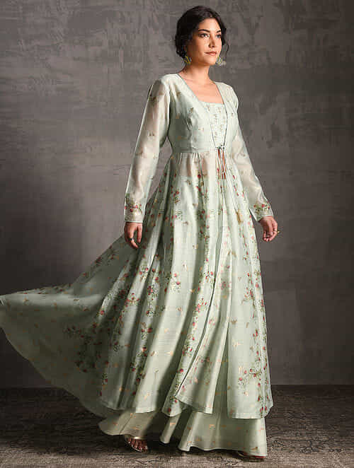 676ab8136fdcdc Green Printed Handwoven Banarasi Cotton-Silk Skirt with Blouse and Jacket  (Set of 3)