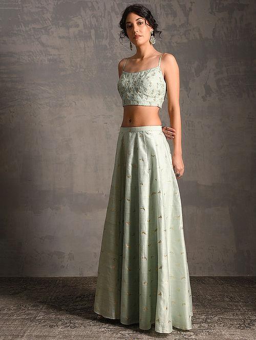 c2eddf80a5 Green Printed Handwoven Banarasi Cotton-Silk Skirt with Blouse and Jacket ( Set of 3