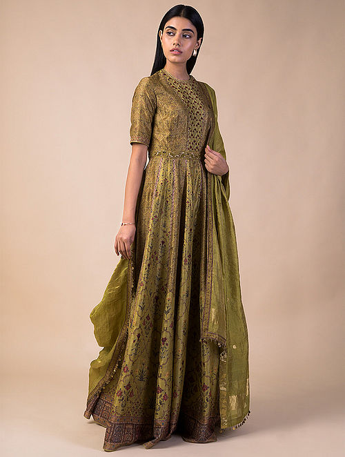 Buy Lime Green Printed Chanderi Silk Anarkali With