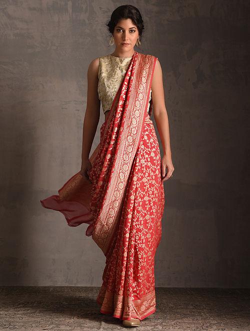 6887c8c1fb Buy Red Benarasi Georgette Saree Online at Jaypore.com