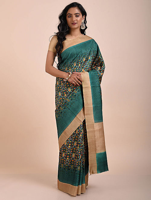 Teal-Beige Printed Tussar Silk Saree