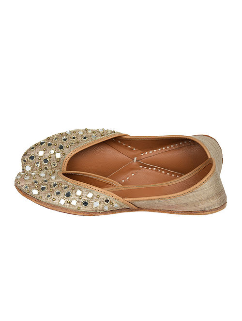 Gold Handcrafted Pure Leather Jutti
