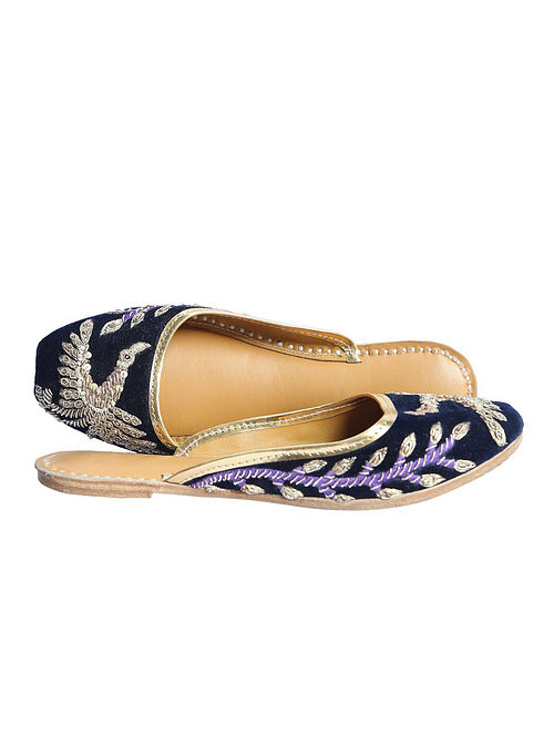 Navy Blue Hand Embroidered Pure Leather Jutti