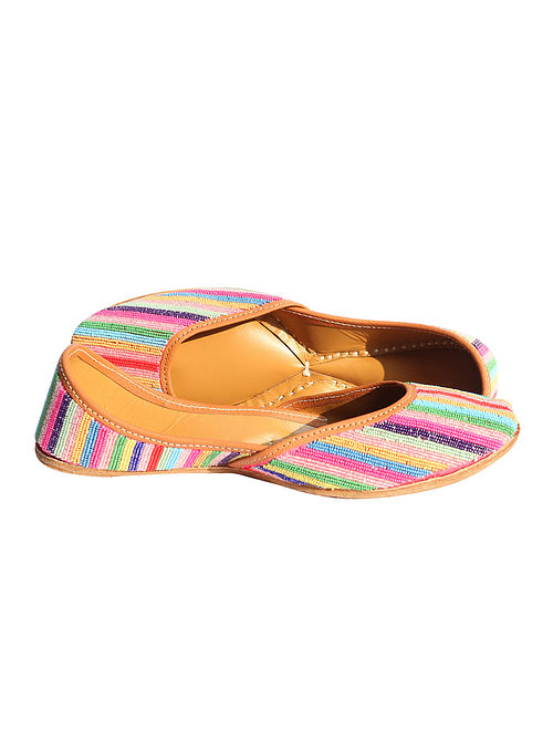 Multicolor Embellished Pure Leather Jutti