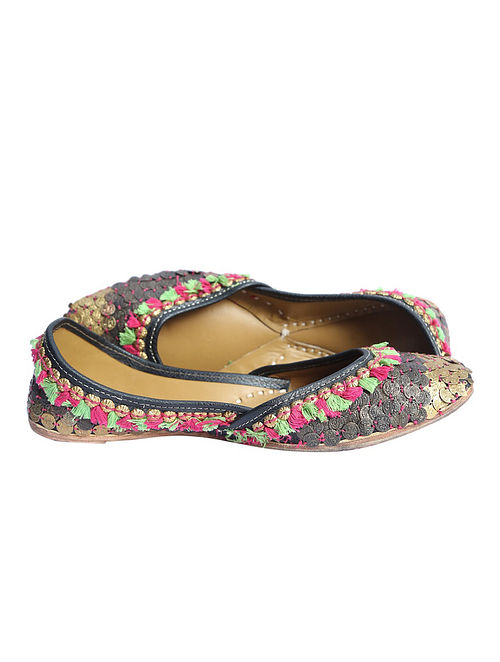 Multicolor Hand Embroidered Pure Leather Jutti