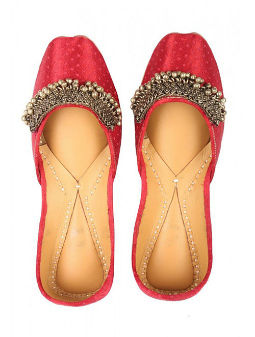 Red Handcrafted Leather Jutti