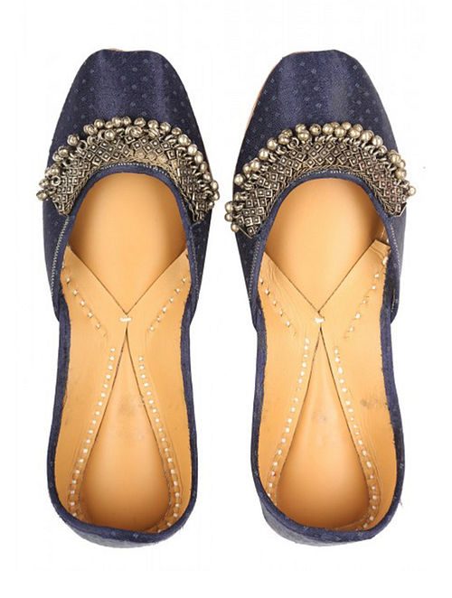 Blue Handcrafted Leather Jutti