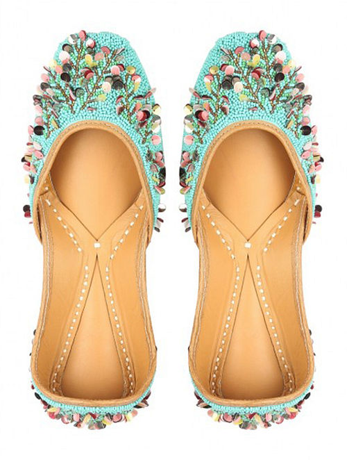 Turquoise Handcrafted Leather Jutti