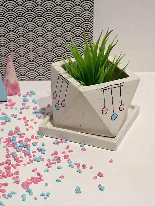 """White Concrete """"Octave"""" Planter with Tray"""