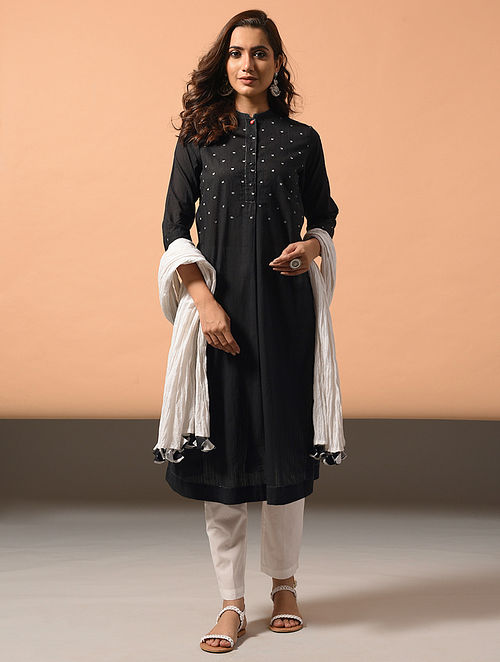 NAVYA - Black Cotton Dobby Kurta with Embroidery
