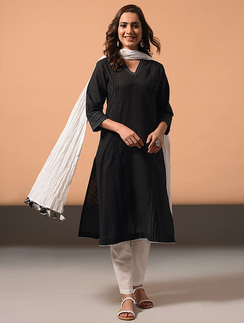 CHAAYA - Black Cotton Dobby Kurta with Embroidery