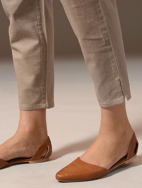 AAHANA - Beige Tie-Up Elasticated Waist Cotton Linen Narrow Pants