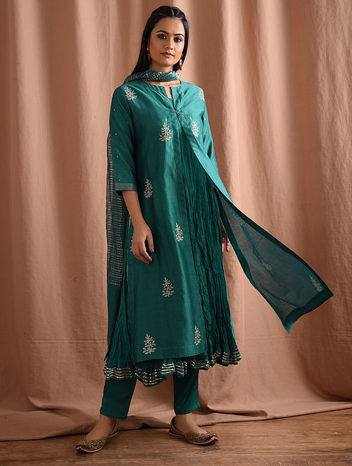 BENAZIR - Green Silk Cotton Embroidered Kurta with Gota and Slip