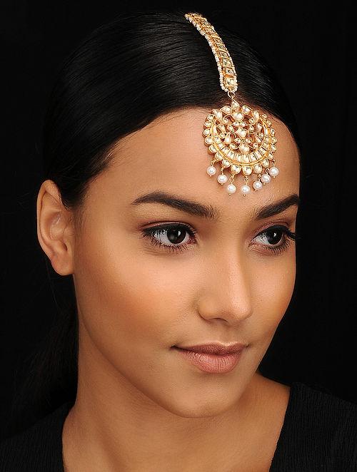 Gold Tone Kundan Silver Maangtika with Pearls