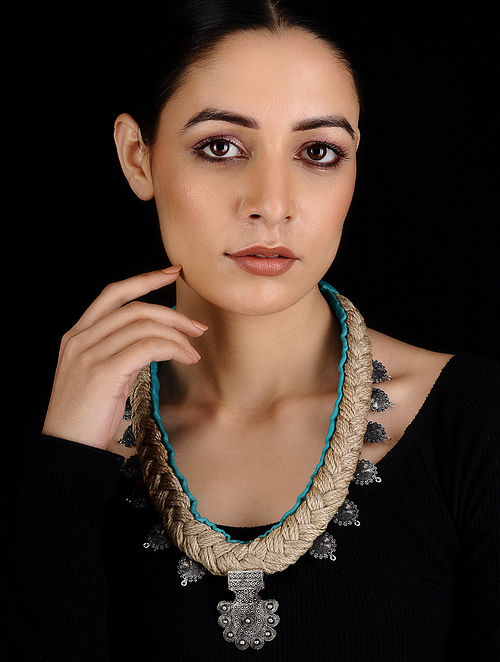 Turquoise Silver Tone Cotton and Jute Handcrafted Necklace