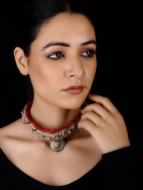 Red Gold Tone Cotton and Jute Handcrafted Necklace