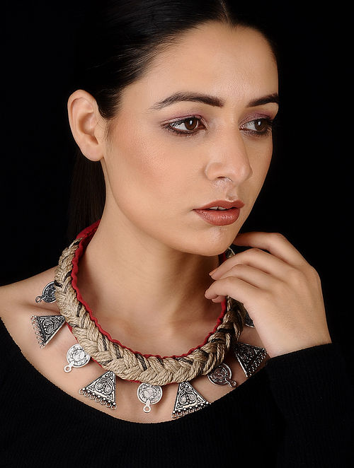 Red Silver Tone Cotton and Jute Handcrafted Necklace
