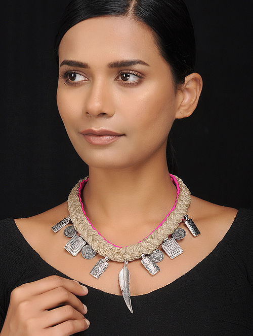 Pink Silver Tone Cotton and Jute Handcrafted Necklace