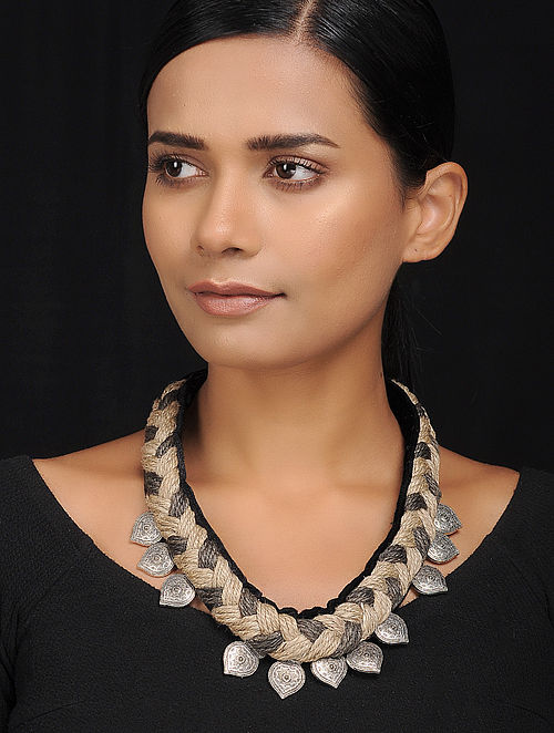 Black-Grey Silver Tone Velvet and Jute Handcrafted Necklace