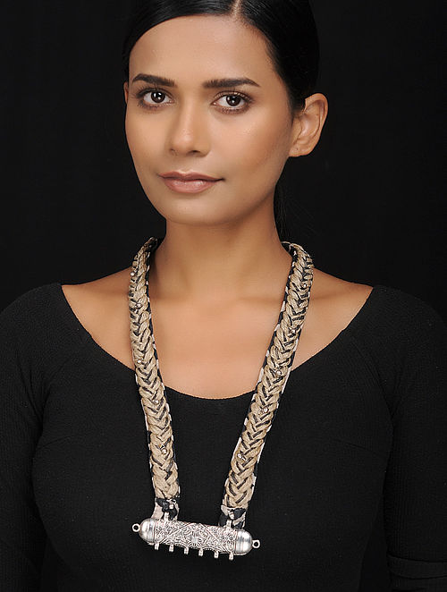 Black-White Silver Tone Silk and Jute Handcrafted Necklace