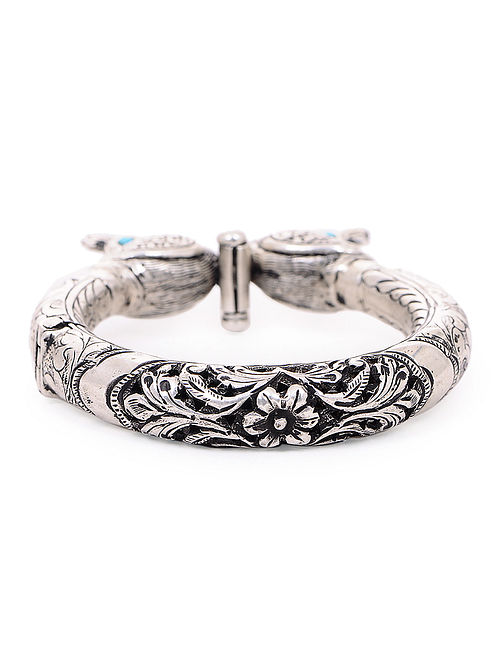1a0f873ed0 Hinged Opening Tribal Silver Bangle with Peacock Design (Bangle Size -2/8)