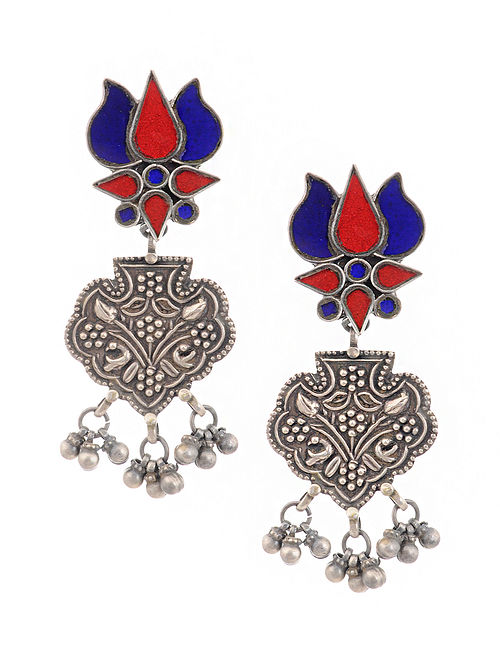 Blue Red Glass Tribal Silver Earrings