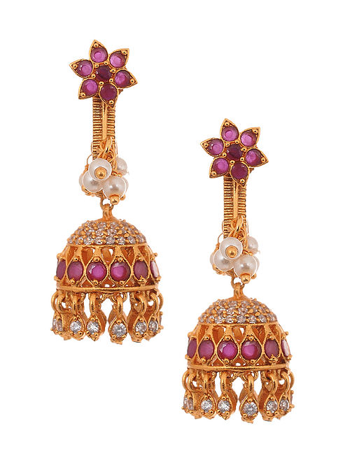 Pink Gold Tone Jhumki Earrings with Pearls