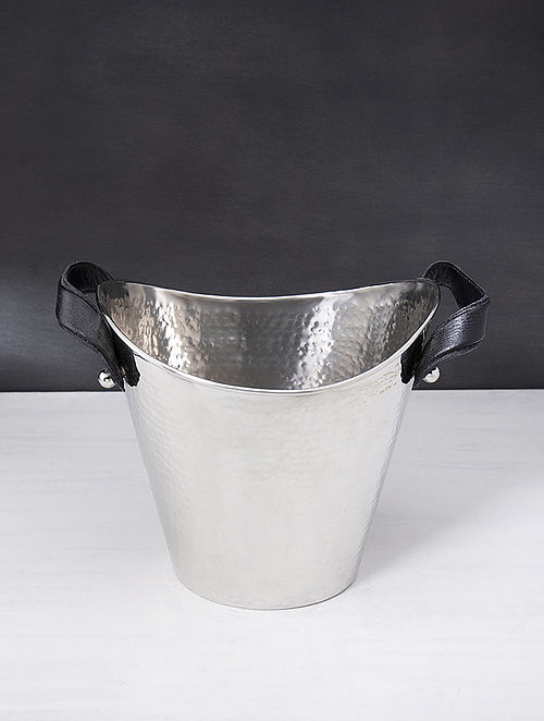 Buy Silver Plating Hammered Stainless Steel Wine Cooler With Leather  Handles (L- 13in, W- 8 5in,H- 10in) Online at Jaypore com