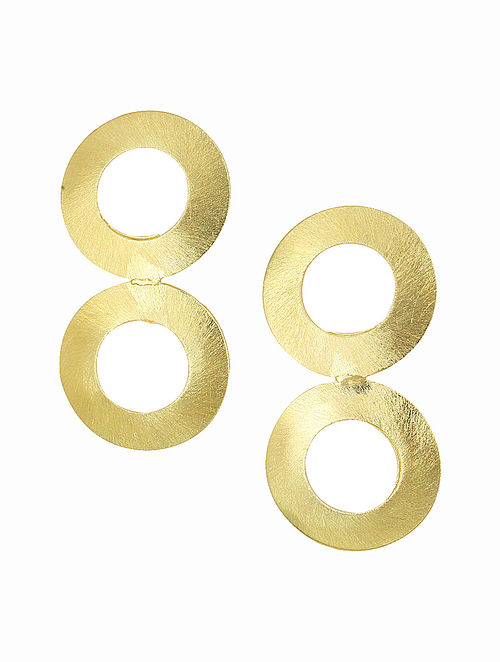Classic Gold Tone Handcrafted Brass Earrings