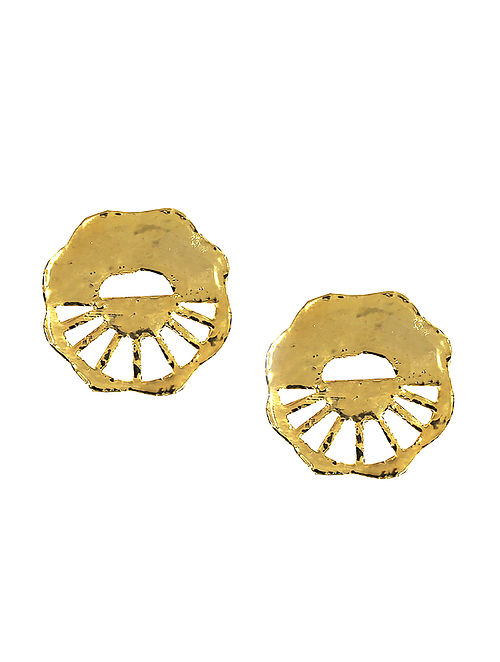 Classic Gold Tone Handcrafted Brass Stud Earrings