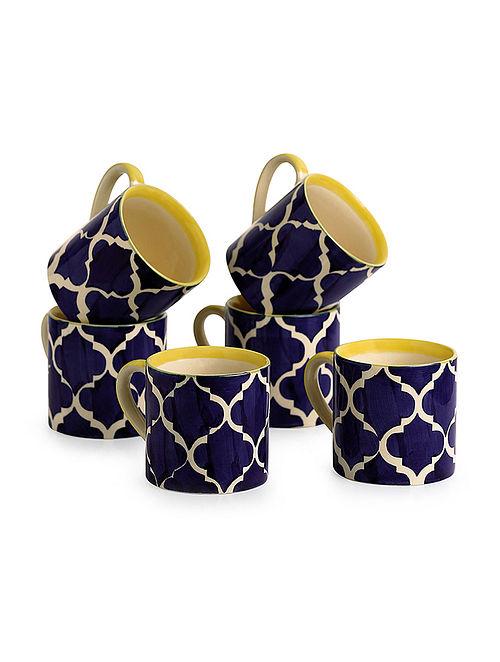 ad5d3814dc3 Ocean Caffeine Hangouts Blue-White Hand-painted Ceramic Mugs (Set of 6)